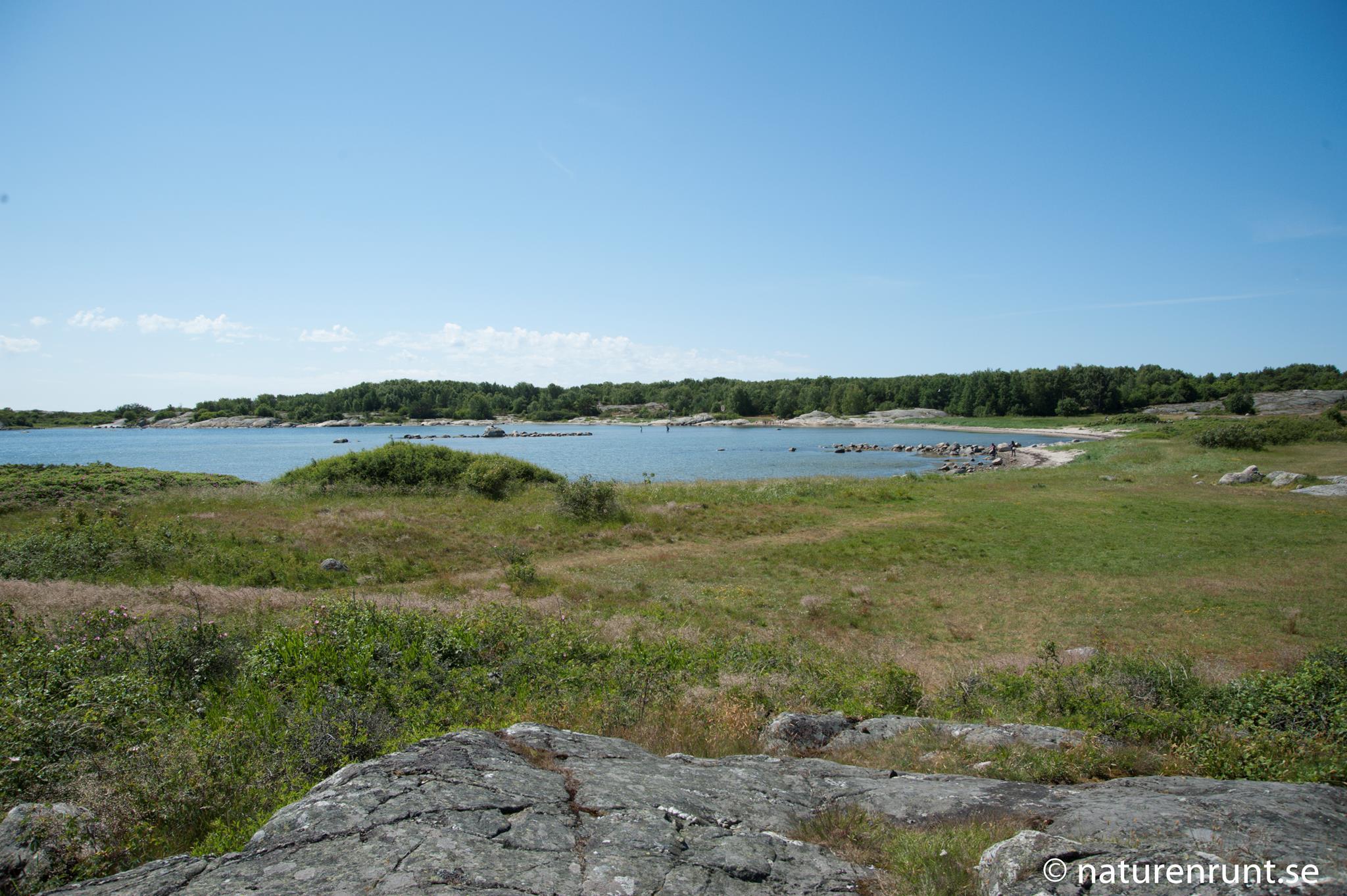 Badplatsen - Långgrund strand vid Nötholmen på södra Vrångö i början på juni